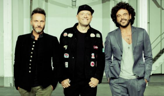 Nek, Max Pezzali e Francesco Renga na capa do single Dure da Battere