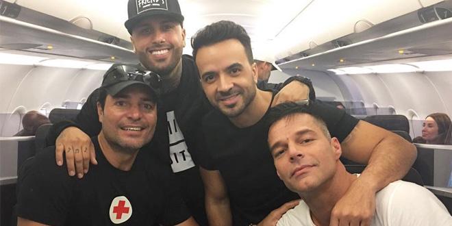 Chayanne, Nicky Jam, Luis Fonsi e Ricky Martin embarcaram juntos para ajudar as vítimas do furacão Maria em Porto Rico.