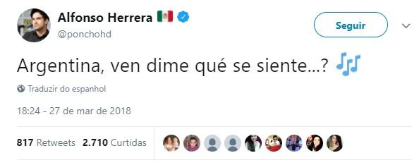 Alfonso Herrera, do RBD, fez piada com a Argentina no Twitter