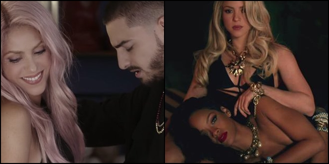 Shakira com Maluma e Rihanna